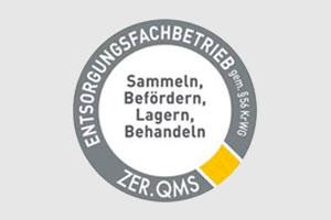 Kreisförmiges Logo des Zertifkats ZER QMS zur Auszeichnung eines Entsorgungsfachbetriebs.